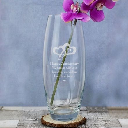 Personalised Bullet Vase - Love Hearts
